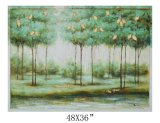 Peinture à l'huile décorative d'arbres de maison de clinquant de lame d'or sur le bois (811703138)