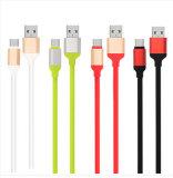 Cable de datos plano colorido de los tallarines para el micr3ofono/el relámpago/el Tipo-c adaptador de carga femenino