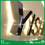 Esterno illuminare in su l'abitudine della scheda del segno di nome del negozio di lettere della casella chiara delle lettere della Manica