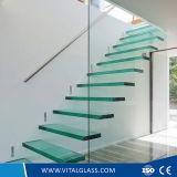 Vidrio Tempered curvado vital para las escaleras/pared