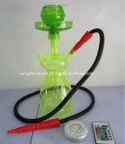 새로운 디자인에 의하여 그려지는 녹색 유리제 연기가 나는 Hookah 관