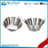 La cucina del ristorante dell'acciaio inossidabile ha smerigliato il piatto propenso del cuoco del cuoco unico con la maniglia rivettata due