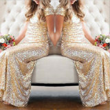 Сногсшибательные Sequins золота замыкают накоротко платье Bridesmaid партии втулок (Dream-100047)