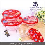 Conjunto de tigela de vidro de design novo 5PCS com design de Natal do pai na tampa