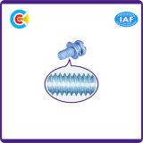 Blaues Zink-Edelstahl-Kreuz/Kreuzkopfwannen-Kopf-Schraube mit Dichtung/Unterlegscheibe