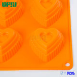 Moulage de gâteau de silicones en forme de coeur de FDA/LFGB/SGS 6cups mini