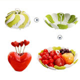 花弁デザインフルーツはデザート用深皿の党、結婚式、ベビーシャワーのためのフルーツの版を食事する引き込み式の果物かごの台所をめっきする