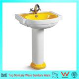 Lavabo en céramique de luxe de jaune de salle de bains d'Ovc-A7114y