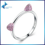 Real 100% 925 Sterling Silver Cute Cat Ears, Pink CZ Ring for Girl