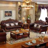 Sofà di cuoio di legno per gli insiemi della mobilia del salone