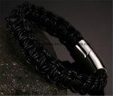Heiß-Verkauf Metalfaltenbildungen gesponnenes ledernes Seil-Armband (BL2848)