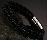 Het heet-verkoopt Roestvrij staal ontzet de Geweven Armband van de Kabel van het Leer (BL2848)
