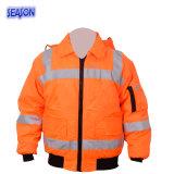 De hoge PPE Workwear van de Beschermende Kleding van het Jasje van de Winter van het Zicht Oranje Laag Opgevulde Kleren van het Werk