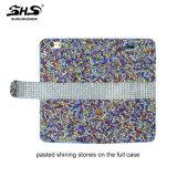 Caixa de couro Shining do telefone da pedra TPU+PU de Shs para o iPhone 7