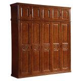 Garde-robe en bois solide bon marché de chambre à coucher de modèle simple des prix (GSP9-018)
