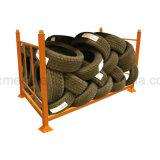 Stapelbare und zusammenklappbare Speicherung, die Reifen-Gestell-Gummireifen-Zahnstange stapelt