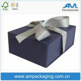 Caixa de presente luxuosa de empacotamento feita sob encomenda do tipo rígido do cartão com selo da fita