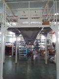 Mispel-Einsacken-Maschine mit Förderanlage und Nähmaschine