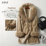 2016 nuevo diseño de cuero de piel de oveja genuina y Ropa de piel con piel de Fox de las mujeres
