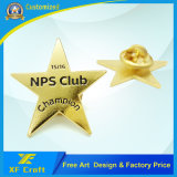 カスタマイズされた金属の金は蝶止め金(XF-BG012)によってめっきした星の折りえりPinを