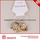 7PCS Vastgestelde Juwelen van de Ring van de Vinger van het Kristal van de manier de Gouden met Verschillende Grootte