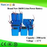 太陽LEDライトのための再充電可能なリチウム3.7V 2500mAh李イオン18650電池