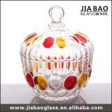 Choc en verre gravé de sucrerie de couleur décorative de jet