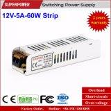 fuente de alimentación de la tira de 12V 5A 60W para el rectángulo ligero del LED