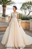 결혼 예복 2017년 Champagne 크림 레이스 신부 웨딩 드레스 W1624