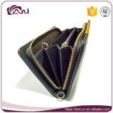 Бумажник напольный для перемещения, черный бумажник карточки повелительниц нового прибытия могущественный застежки -молнии PU