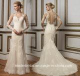 Lange Hülsen-Brautkleid-Nixe-Spitze-Tulle-Hochzeits-Kleider Z1060
