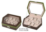 Cuir de bijou de mémoire d'hexagone/cadre en bois/caisse pour la montre et le bijou