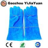 زرقاء جلد بقر [سبليت لثر] صناعيّة يد أمان لحام عمل قفازات