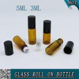 rodillo de cristal ambarino redondo 3ml en la botella de la bola de acero con el casquillo plástico 5ml