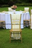Resina plástica da cadeira de Chiavari do ouro para o casamento
