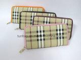 Бумажник PU женщин застежки -молнии конструкции Tartan кожаный, Бумажника повелительницы