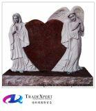 Rood Graniet/de Marmeren Grafsteen van de Engel van het Hart van de Grafzerk