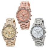 El cuarzo del cronógrafo del Faux plateó los relojes redondos clásicos de los cristales de las señoras
