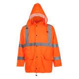 Alta chaqueta de la lluvia de la seguridad de la visibilidad con ANSI107 (2010)