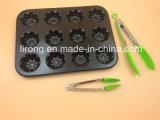 Bakeware焦げ付き防止のコーティングのマフィン鍋12個のコップのCaronの鋼鉄テフロン