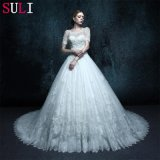 A Line Short Sleeve Real Photo Wedding Dress (ZXB-12)