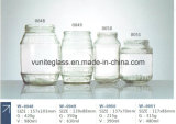 Altas latas de cristal de grabación en relieve claras de los utensilios de cocina de la cristalería de la botella de cristal del envase del tarro