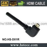 65FT PVC M/Mは90度の直角のマイクロHDMIを訂正する