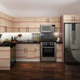Мебель кухни самомоднейшей конструкции прокатанная деревянная