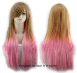 대중적인 색깔 기온변화도 기울어지는 강타 여성 긴 똑바른 합성 가발