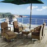 Glassic Design Wicker + Teak Outdoor Garden Patio Dining Balcony Set com café e mesa lateral e cadeiras (YT266)