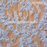 Corded blanco y con cuentas de encaje francés Tela Vc - 02066bc