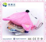 Бумажник цепи застежки -молнии плюша портмона монетки розового шаржа Fox миниый