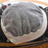 Mono plutônio amarrado de Fornt do laço do laço mão baixa humana cheia em torno do Toupee do Hairpiece do perímetro
