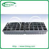 6 bandejas do berçário das pilhas no plástico para crescer